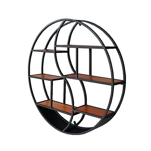 Fff-shelf scaffale da muro in ferro retro libreria in legno massello partition parete decorazione rotonda espositore rotondo nero opaco diametro: 88cm (dimensioni : diameter 88cm)