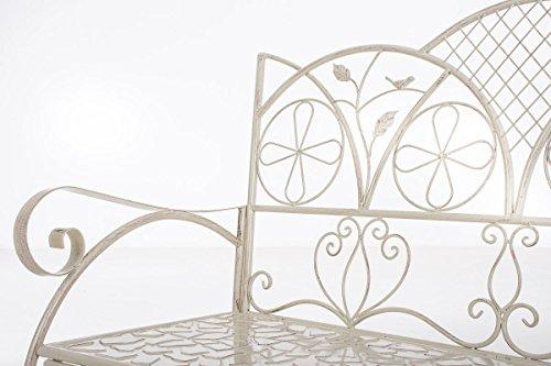 CLP Metall-Gartenbank RIEF, Landhausstil, lackiertes Eisen, ca. 110 x 50 cm, Design nostalgisch antik Antik Creme - 4
