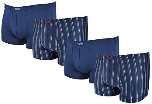 4 Stück eng anliegende Retro Boxershorts • weinrot/schwarz Gr. 6/L aus feinem Mikropolyester • anschmiegsam und atmungsaktiv