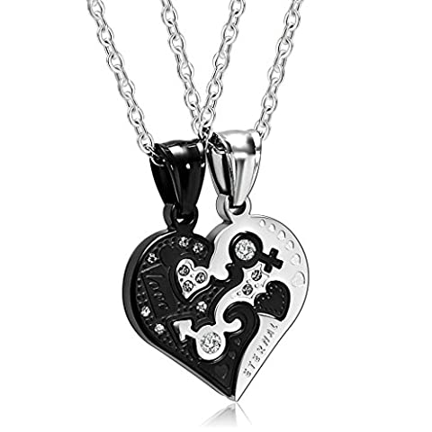 Aooaz Stainless Steel Pendant Necklace for Couple CZ Heart His And Hers Pendant Necklaces Silver Black