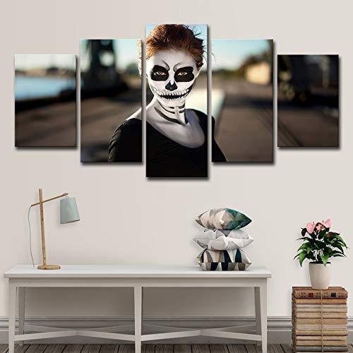 ZHAOCAI Hd Gedruckt Mädchen Halloween Poster 5 Stück Gruppe Malerei Raumdekor Druckplakat Bild Leinwand