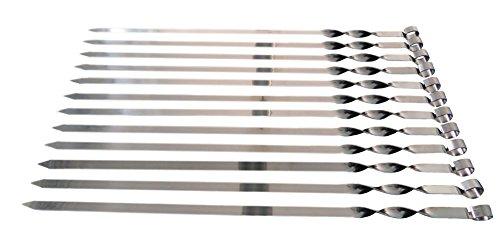 Edelstahl Schaschlikspiesse 60cm / 2mm Stärke / 1,5cm Breite / EXTRA STARK / Schampura Grillspiesse Fleischspiesse auch für Mangal (12 Stück)