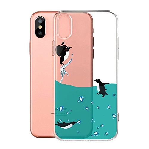 Custodia per AppleiPhoneX(5,8pouces) ,JIENI Cover Arte piuma Trasparente TPU Flessibile Sottile Protezione Bumper Case per AppleiPhoneX(5,8pouces) WM7