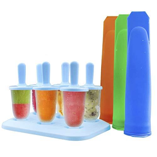 ZesGood Wassereis-Formen-Set mit 3Schleckeis-Formen und 6Silikon-Stieleis-Formen, Lebensmittelqualität