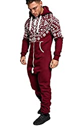 Amaci&Sons Herren Norweger Overall Jumpsuit Onesie Jogging Sportanzug Trainingsanzug Jogginganzug 3009 Bordeaux XL