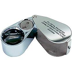 Lupa de metal para joyas, con lupa iluminada, plegable, 40 x 25 mm, lente de cristal antigüedad