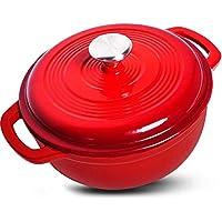 Horno holandés de hierro fundido esmaltado - Color rojo con tapa, 3,2 cuartos de galón - por Utopia Kitchen