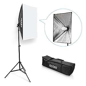 ESDDI Softbox Eclairage Vidéo avec 1x50x70cm Softbox Kit, 2m Ajustable Softbox Monture Universelle et 1x85W E27 5500K Lamp Studio Photo pour l'Enregistrement Vidéo