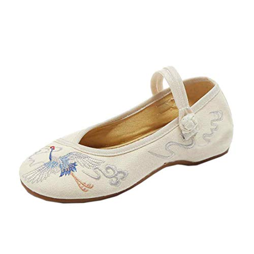 a2274ab6bd71f GYUANLAI Women's Retro Chinese Style Pattern Embroidered Cloth Shoes Solid  Color Soft Bottom Buckle Round Toe Wedge Shoes(Beige/36)