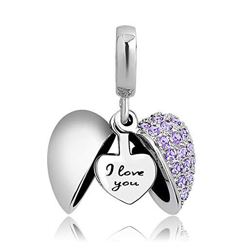 Poetic Charms Herz Love Anhänger Charm 925 Sterling Silber lila Geburtsstein Bead für Europäisch Armbänder (Happy Birthday Charme Pandora)