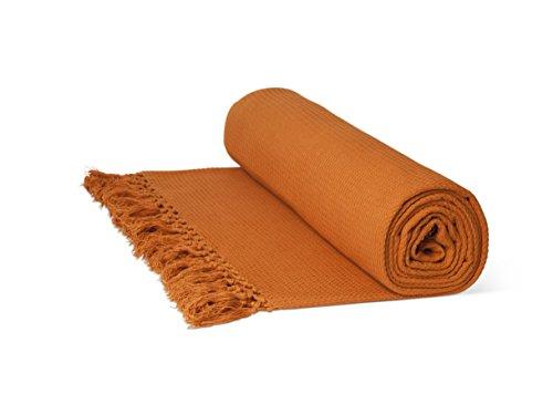 """Just Contempo Überwurf/Tagesdecke, aus 100% Baumwolle, mit Wabenstruktur, extragroß, 100% Baumwolle, Terracotta (orange), King Size 102"""" x 102"""" (259x259cm) Kingsize"""