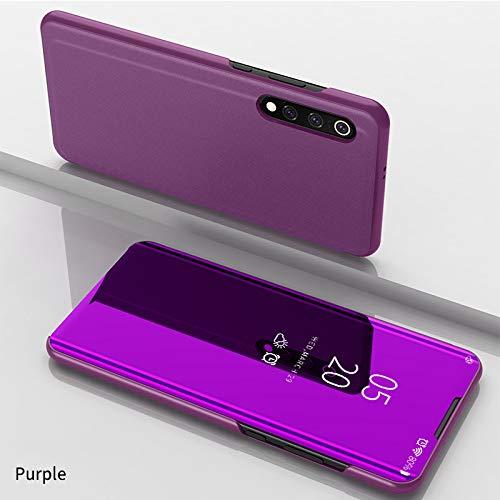 Funda para Xiaomi Mi 9 Estuche Espejo Elegante Cover de Función Inteligente Case para Dormir Despertar Vista Inteligente Carcasa para Xiaomi Mi 9(Rosa púrpura)