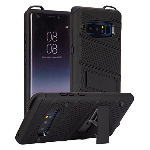 EKINHUI Case Cover Ultra Thin Slim Dual Layer PC + Soft TPU Back Schutzhülle Fall [Shockproof] mit Kickstand für Samsung Galaxy Note 8 ( Color : Gold ) Black