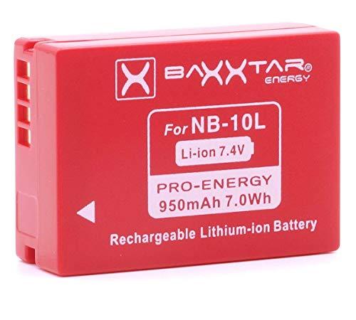 """BAXXTAR Pro Qualitätsakku für Canon NB-10L für -- Canon PowerShot SX40 SX50 SX60 HS G15 G16 G1 x G3 x - 100 Prozent kompatibel \""""neueste Generation\"""" (mit Transportschutzkappe)"""