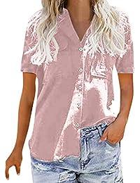 SANFASHION Chemise Femme Doux Chic Manche Longue Boutton Poche Casual Shirt Col  V Tee Top Travaille be5d8d4c088