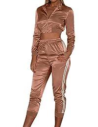 3add0ac71a19 Trajes Deportivos Slim Mujer Chaquetas Cremallera Manga Larga Pantalones  Recortados Cintura Alta Conjuntos Ropa Deportiva Señoras