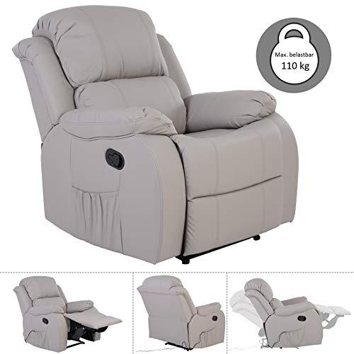 MACO Import Fernsehsessel mit Massage und Wärmefunktion - dick gepolsterter Relaxsessel aus Kunstleder in grau -