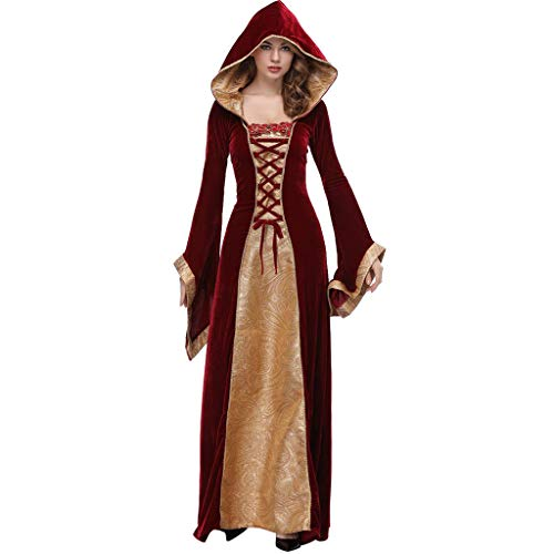 JXQ-N Damen Vintage Mittelalter Kleidung Trompetenärmel Hexe Vampir Kostüm Rot Hexen Halloween Karneval Verkleidung Prinzessin Maxikleid -