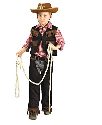 Cowboy Kostüm Weste, Hemd und Chaps (98-104)