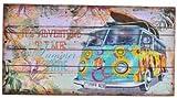 AVENUELAFAYETTE Tableau bois Plage Van vintage - surf - 48 x 24 cm (M4)
