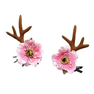 lianji Haarnadel, Weihnachtsblumen-Geweih, für Urlaub, Studio, Foto, Elch, Haarreifen, Styling-Zubehör Approx. 7.5cm rose