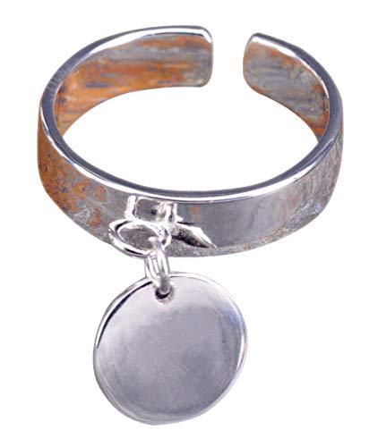 NicoWerk Damen Silberring Disc aus 925 Sterling Silber Glatt Bandring Schlicht mit Anhänger Verstellbar Offen SRI401