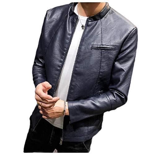 Energy Men's Loose-Fit Full Zip PEA Coat Crewneck PU Leather Jackets Dark Blue S