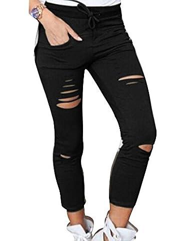 Skinny Pantalons Troue Femmes Skinny Taille Haute Stretch Slim Crayon Pantalon Noir L