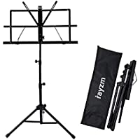 Rayzm Sheet Music Book Stand,Sturdy Portable Folding Metal Stand with Carrying Bag, Adjustable Heights, Max Load Weight 1.5kgs, Lightweight & Compact for Storage or Travel