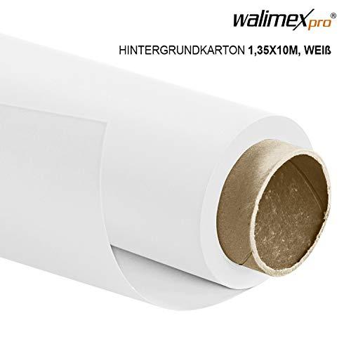 Walimex pro Papierhintergrund weiß 1,35m x 10m, Nahtloser Hintergrundkarton, ideal für Fotografie, Video, Portrait, für Hintergrundsystem, Fotohintergrund, Studiobedarf und Fotostudiohintergrund