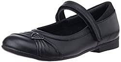 Clarks Girls Dolly Heart Black Leather Formal Shoes - 3 UK