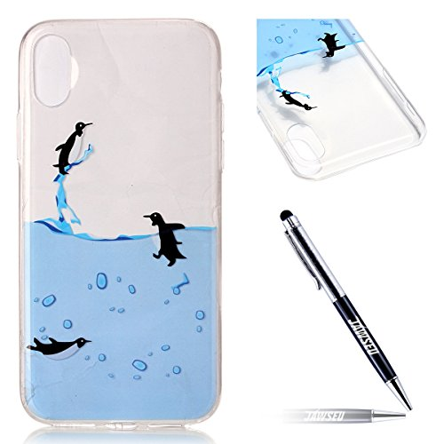 Custodia Cover iPhone X Transparente iPhone X Case, JAWSEU Creativo Disegno Antiurto Corpeture Cristallo Chiaro Case per iPhone X Super Sottile Case Custodia Cover per iPhone X Protettiva Shock-Absorp Pinguino