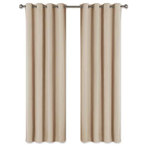 Pony dance tendaggi beige con occhielli - tende moderne termiche isolanti per interne/divisori lunghi ufficio salotto camera da letto, 2 pannelli, 140 x 260 cm (l x a)