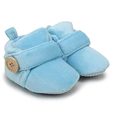 Basics21 Baby Infant Soft Booties 3-12 Months Baby Shoes with Anti-Slip Sole Suitable for Both Boy and Girl (Blue)