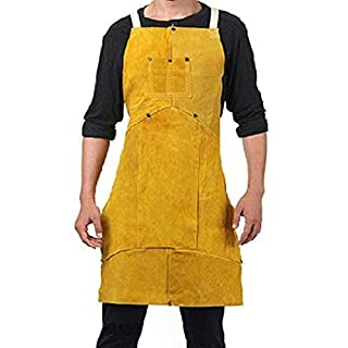 Babimax Welding Apron Leather with Pocket Anti-Splash Apron Welding Accessory Protection Work Garment Yellow 24 * 36 Inches of 7 pc Style