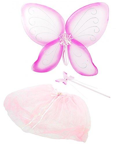 Feen Set für Babys und Kleinkinder - Karneval Fasching Märchen Party rosa Phantasie Welt Tutu Flügel Zauberstab Schmetterling (Baby-und Kleinkind-kostüme)