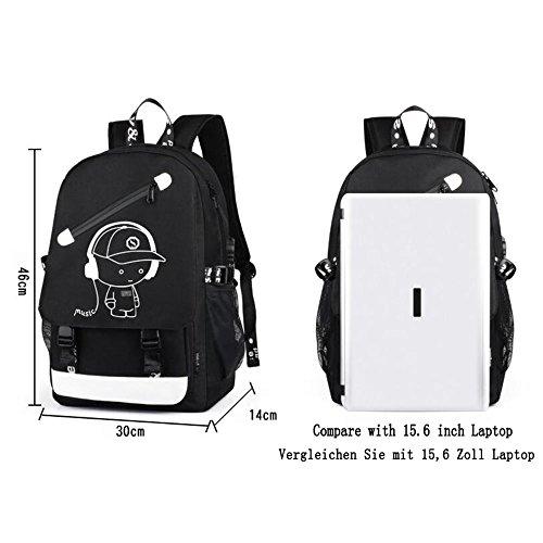 KYD Unisex Cool Boys Girls Men Women Outdoor Backpack travel Backpack Anime Luminous Backpack Daypack Shoulder School Bag Laptop Bag with USB Charging Port(USB Sea Robber)