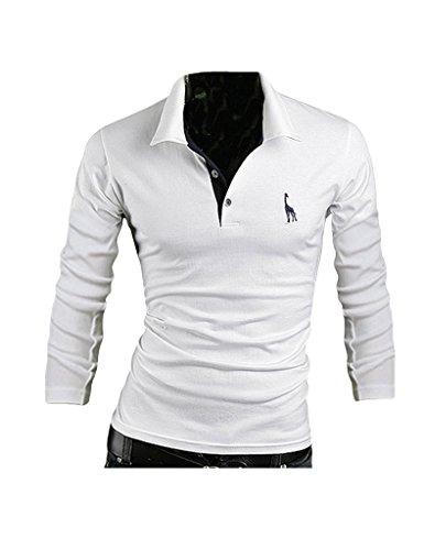 Legou Herren Langarm Polohemd Poloshirt Einfarbig Sommer Kentkragen T-Shirt Weiß