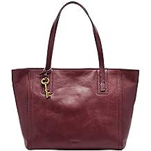 eab8779bfcb77 Fossil Emma Tote Rot Damen Handtasche Tasche Shopper Leder Henkeltasche  Marken Lederhandtasche Elegant Geräumig