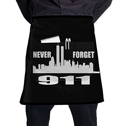 Kotdeqay Women/Men Short Aprons 911 Never Forget Chef Sleeveless Anti-Fouling Overalls with Pocket
