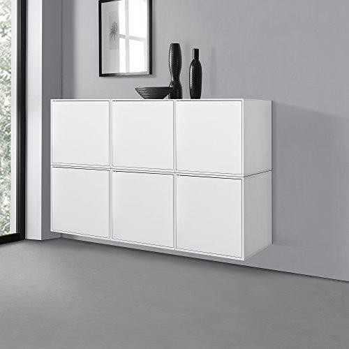 [en.casa]® Wandregalkombination - Highboard - 6x Stylische Regale mit Tür - Weiß - 135x30x90cm