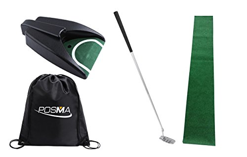 posma pg010 F Praxis Training Cup Golf Automatik-Putting-Cup Bundle Set mit 1-Putting-Cup + 1,8 m x 0,3 m Putting Matte + 1 Stück Abnehmbarer Putter + Cinch Sack -