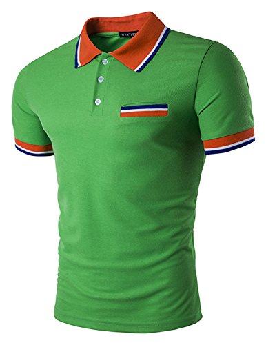 Boom Fashion Herren Poloshirt Beiläufig Kurzarm Stehkragen M - XXL Grün