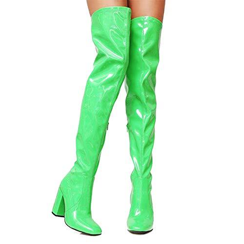 DoraTasia Frauen PU Chunky High Heels Oberschenkel Hohe Sexy Stiefel Wasserdicht ¨¹ber Dem Knie Kleid Ritter (Sexy Oberschenkel Hohe Stiefel)