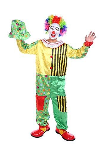 NiSeng unisex Clownanzug Jumpsuit mit Mütze Cosplay Kostüme karnevalskostüme Horrorclown Halloween Clown Grün/Gelb (Horrorclown Kostüme)