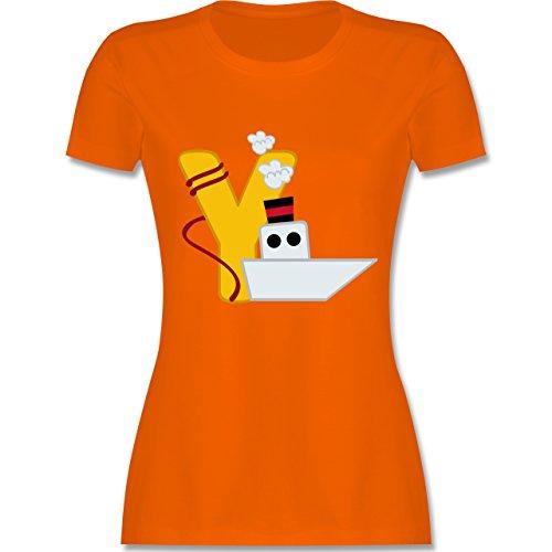 Anfangsbuchstaben - Y Schifffahrt - tailliertes Premium T-Shirt mit Rundhalsausschnitt für Damen Orange
