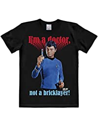 Logoshirt Doctor McCoy T-Shirt - Bones - Star Trek Short Sleeve Tee - I'm A Doctor Not A Bricklayer Crew Neck T-Shirt - Black - Licensed Original Design - High Quality