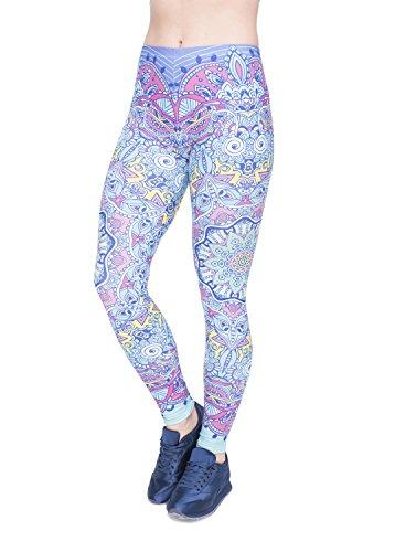Damen Leggings Sport Yoga Print Hosen Strumpfhose Workout Fitness Running Pants Mehrfarbig One Size (Warm-up Kleidung)