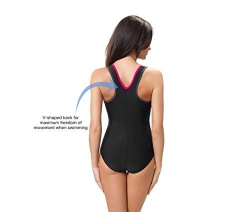 Gwinner Damen Badeanzug- Geeignet Für Freizeit Und Sport - Ideale Passform - Beständig Gegen UV Und Chlor -Made In EU #Ivana Rosa