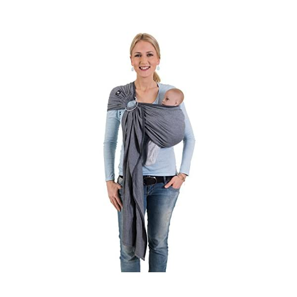 Hoppediz Ring Sling for Baby Carrying (London White) Hoppediz Suitable from birth until parent or child chooses to stop carrying The ring slings are almost used for hip carrying; newborn babies can be carried in the cradle position The ring of the ring Sling consists of aluminium in tested quality 1